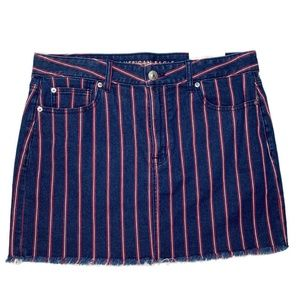 American Eagle mini skirt shift denim striped 14
